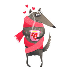 Funny animal wolf in love sick taking medicine.