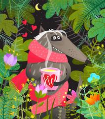 Fun cartoon animal wolf sick in love in the forest.