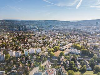 Aerial view of suburbs of Zurich in Switzerland