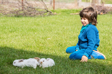 Boy sitting on grass with little rabbits