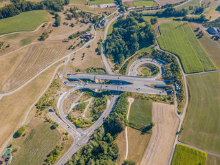 Aerial view of highway bridge and tunnel entrance in Switzerland, Europe