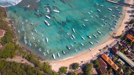 Aerial : Padang Bai Port area,popular destination to Nusa Dua island,Bali island,Indonesia