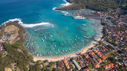 Aerial : Padang Bai Port area,popular destination to Nusa Dua island,Bali island,Indonesia