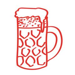 Handgezeichneter Bierkrug in rot