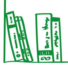 Handgezeichnetes Bücherregal in grün