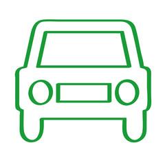Handgezeichnetes Auto - Frontansicht in grün