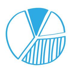Handgezeichnetes Tortendiagramm in blau