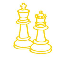 Handgezeichnete Schachfiguren in gelb