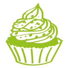 Handgezeichneter Cupcake in hellgrün