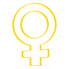 Handgezeichnetes Symbol für weiblich in gelb
