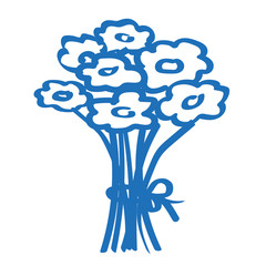 Handgezeichneter Blumenstrauß in dunkelblau
