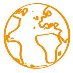 Handgezeichnete Weltkugel in orange