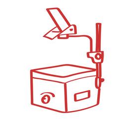 Handgezeichneter Overhead-Projektor in rot