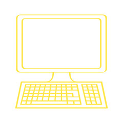 Handgezeichneter Computer in gelb