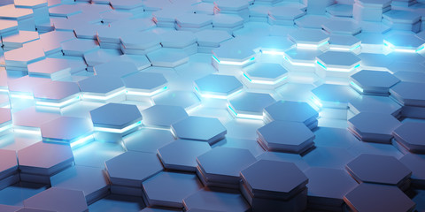 Blue and pink hexagons background pattern 3D rendering