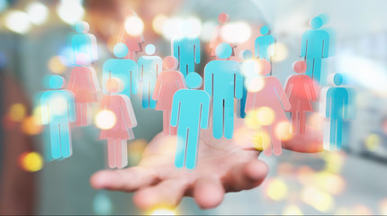 Businesswoman using 3D rendering group of people