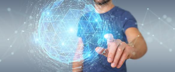 Businessman using digital triangle exploding sphere hologram 3D rendering