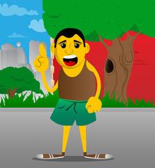 Yellow man making a point. Vector cartoon illustration.