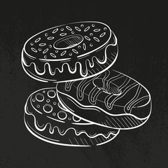 donuts with glaze and candies, cream and sweetmeats sprinkling. Sweet beautiful dessert. Clipart for a restaurant or cafe menu. Line art. Sketch style