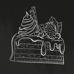 cake with berries, cream and mint. Sweet beautiful dessert. Clipart for a restaurant or cafe menu. Line art. Piece of cake with fresh berries. Sketch style