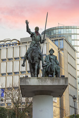 Brussels, Belgium, monument to don Quixote and Sancho Panso. In Brussels on the Plaza de españa, there is a monument to the famous heroes of Cervantes.