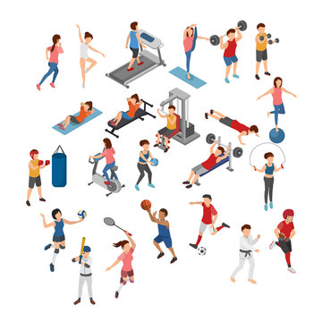 Set of Different Sports, Athelete, Fitness Training, Gym and Field Sports. Flat 3D Isometric Cartoon