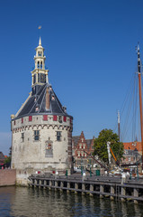 Fotomurales - Historical tower and jetty in the center of Hoorn, Netherlands