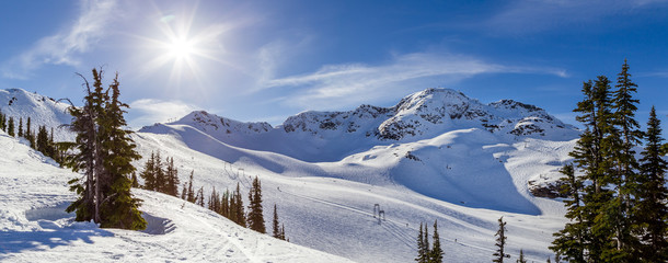The peak of Whistler Mountain on a sunny day. Wall mural