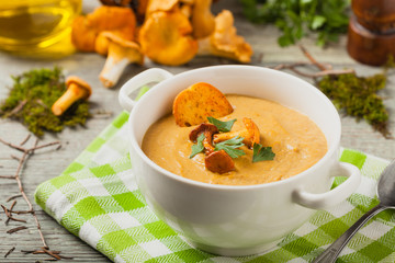 Delicious soup, cream with mushroom chanterelles.