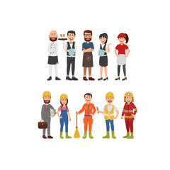 Set Character Professionals Waiters Job Chef, Barista, Cashier and Fields Worker. Flat Vector Illustration