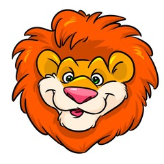 Lion funny Head red mane Emblem cartoon illustration isolated image