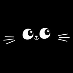 Cat eyes, moustaches in the dark. Head face silhouette square icon. Contour line. Cute cartoon kitty character. Kawaii animal. Funny baby kitten. Love Greeting card. Flat design. Black background.