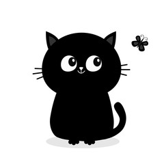Black cat sitting silhouette looking at butterfly insect. Cute cartoon character. Pet collection Greeting baby card. Flat design. White background. Isolated.