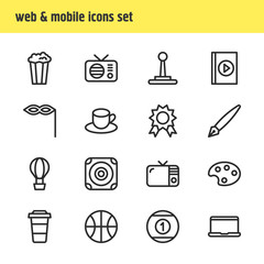 Vector illustration of 16 leisure icons line style. Editable set of laptop, mask, audio book and other icon elements.