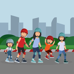 Family Roller Skate Together on Holiday Cartoon Vector