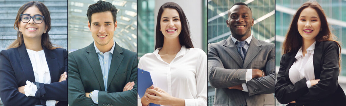 composition of portraits of business people of all ethnicities. concept of financial, insurance and marketing business. globalization and biodiversity
