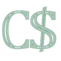 Dollar Canada canadian  currency  symbol icon vector illustration