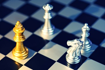 King surrounding with enemy, knight, queen, rook as check, business competitive concept, cheeseboard game concept