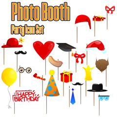 Set of party photobooth props. Vector illustrated elements on sticks for birthdays, Christmas, Graduation and other parties.