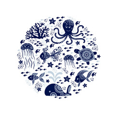 Cartoon sea animals in circle shape. Cute underwater creatures: whale, octopus, jellyfish, starfish and turtles. Perfect for greeting cards, prints and children designs. Vector nautical design.