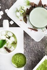 Hot chocolate with marshmallows and matcha