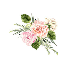 A beautiful watercolor bouquet  with peony and rose.