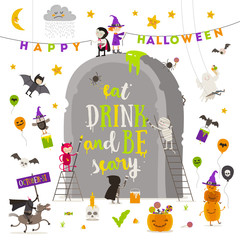 Halloween vector illustration. Group of active halloween characters around a giant tombstone.