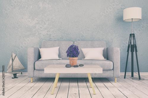 Skandinavisches, nordisches Wohnzimmer - Sofa - Couch - Textfreiraum ...