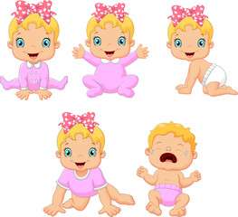 Cartoon little baby girl in different expressions