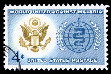 Vintage 1962 United States of America 4 cents cancelled postage stamp showing World Unite Against Malaria