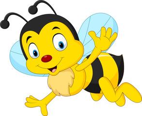 Cartoon happy bee waving