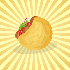 Falafel in pita - cute cartoon colored picture of traditional Arabic and Jewish food. Graphic design elements for menu, advertising, poster, brochure or background. Vector illustration of fast food.