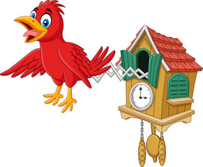 Cuckoo clock with red bird chirping