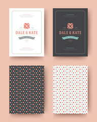Wedding invitation save the date cards vintage typographic template design.